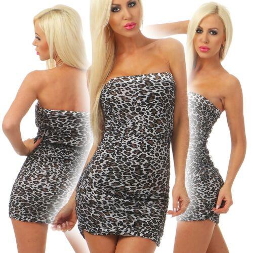 4281 Damen Minikleid Kleid Bandeau Partykleid Cocktailkleid Stretch Leo Dress