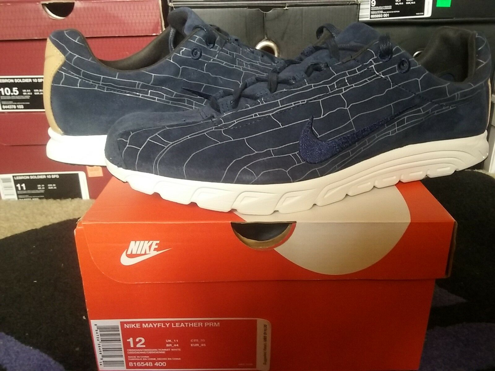Nike Air Mayfly Leather L Premium PRM Suede Obsidian Summit White max 816548 400