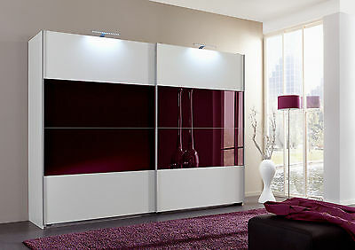 SlumberHaus German Eleganz White & Blackberry Glass 180cm Sliding Door Wardrobe