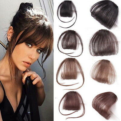 Thin Neat Air Bangs Remy Human Hair Extensions Clip In On Fringe Front Hairpiece Ebay