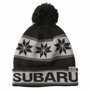 SUBARU Genuine POM Beanie Rally Team USA Gear Hat Impreza STI WRX Cap New Black with Pom