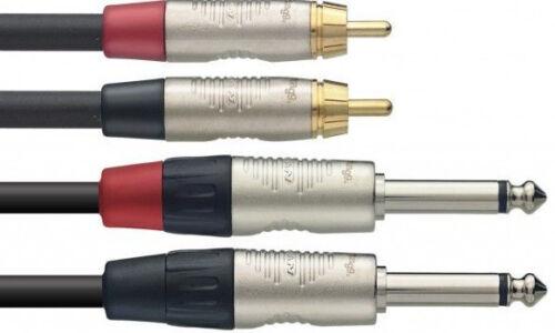 Audio Adapter Kabel 2 x Cinch auf 2 x 6,35 Klinke 1m premium Kabel silber Serie
