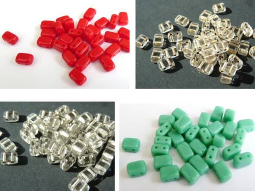 6 TWO HOLE CZECH GLASS SQUARE RECTANGULAR SPACER BEADS - 40PCS mm