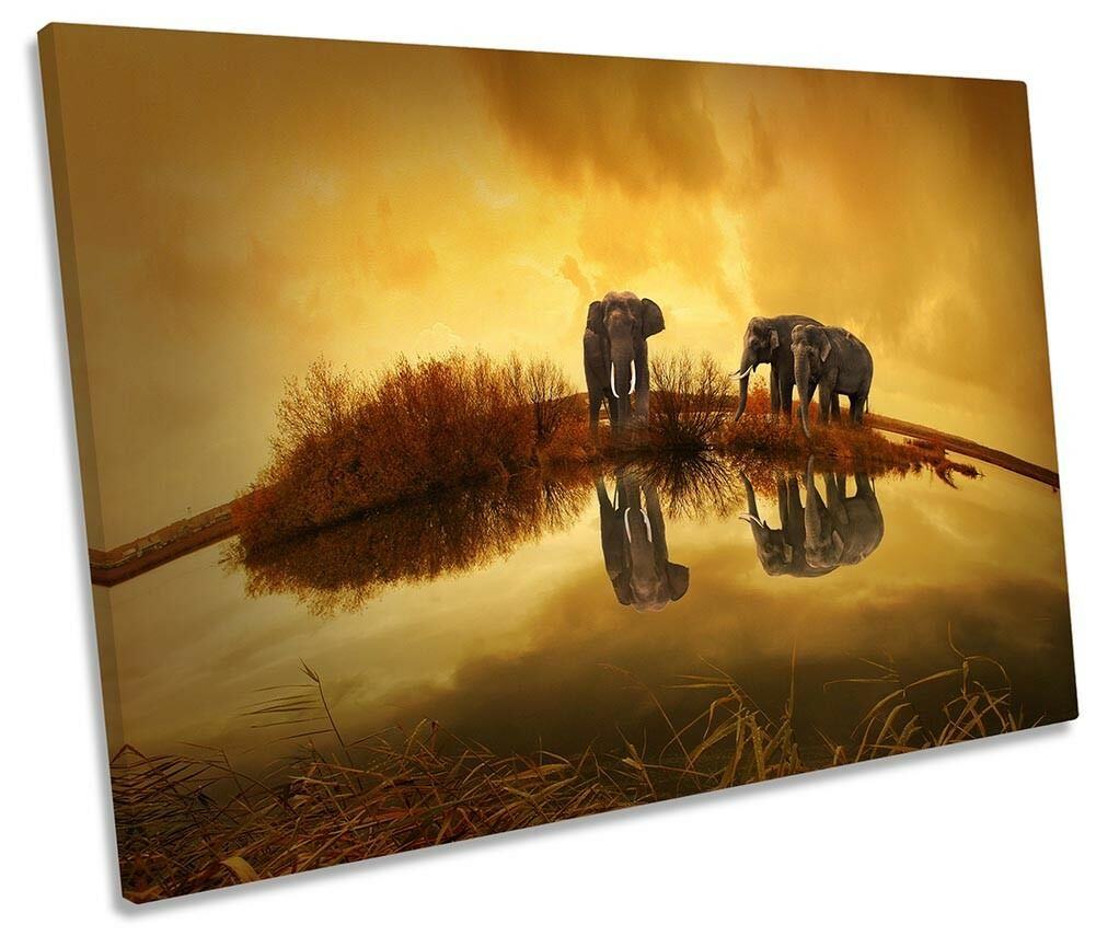 Elephant Sunset Orange Framed SINGLE CANVAS PRINT Wall Art