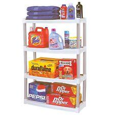 Plano 4 Shelf Plastic Storage Unit Light Taupe Freestanding Organizing  Shelves