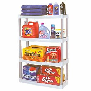 Plano 4 Shelf Storage Unit Rack Organizer Shelves Shelving Garage Closet 375