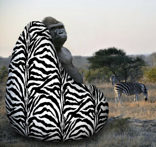 Adult Zebra print FUR bean bag