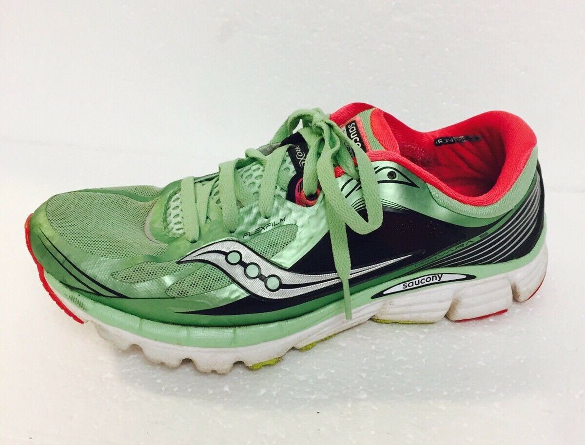 Saucony Size 10 FlexFilm Kinvara 5 Natural Series Green/Pink Running Shoes