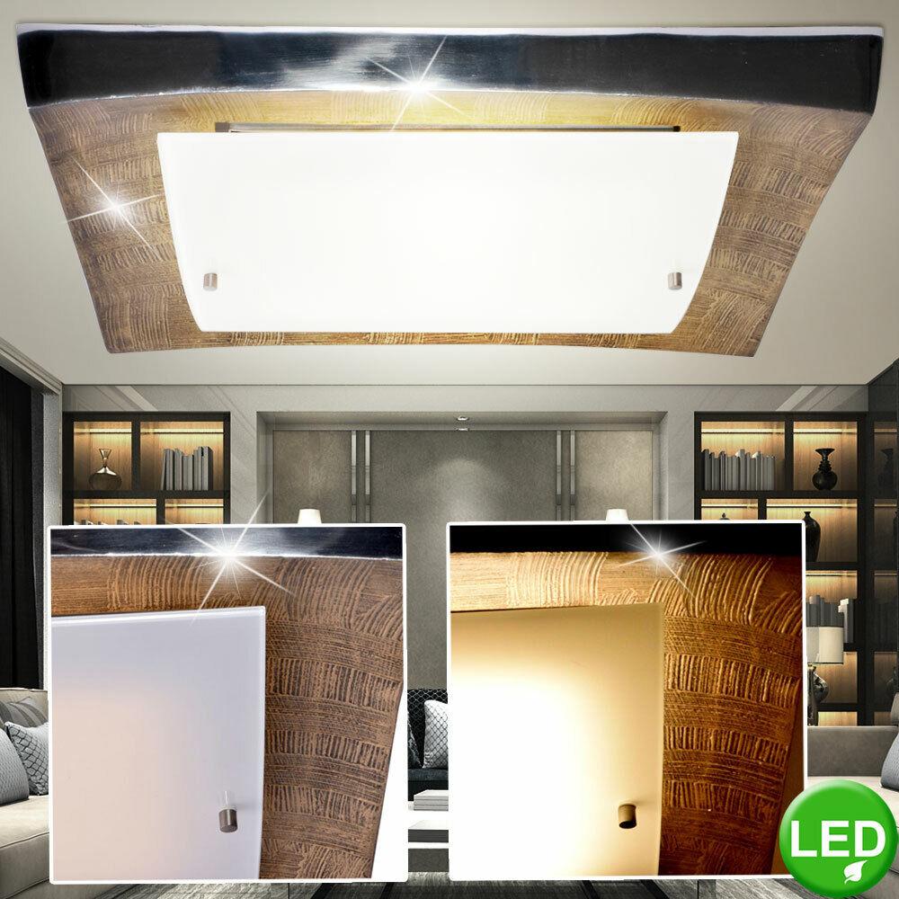 LED Decken Leuchte Wohn Zimmer Lampe ALU Gold Muster Strahler Glas Beleuchtung