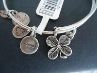 Alex And Ani Lucky Clover Russian Silver Charm Bangle W/ Tag Card & Box