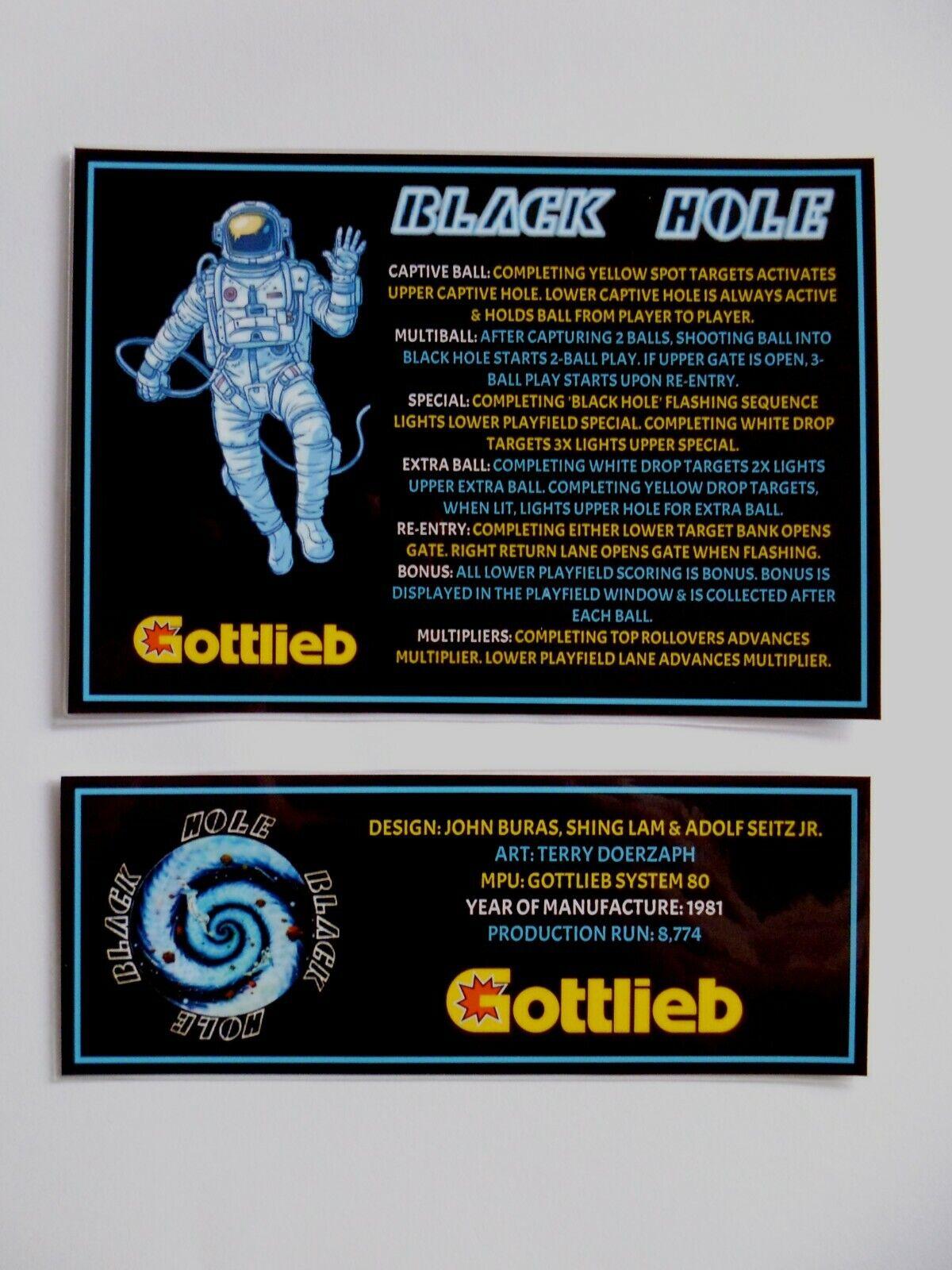 * 'BLACK HOLE' Gottlieb 1981 Custom Instruction/Apron Cards (New) *