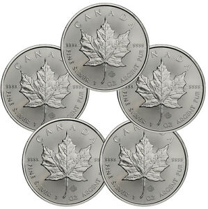 2017-Canada-5-1-oz-Silver-Maple-Leaf-Lot-of-5-Coins-GEM-BU-SKU44167