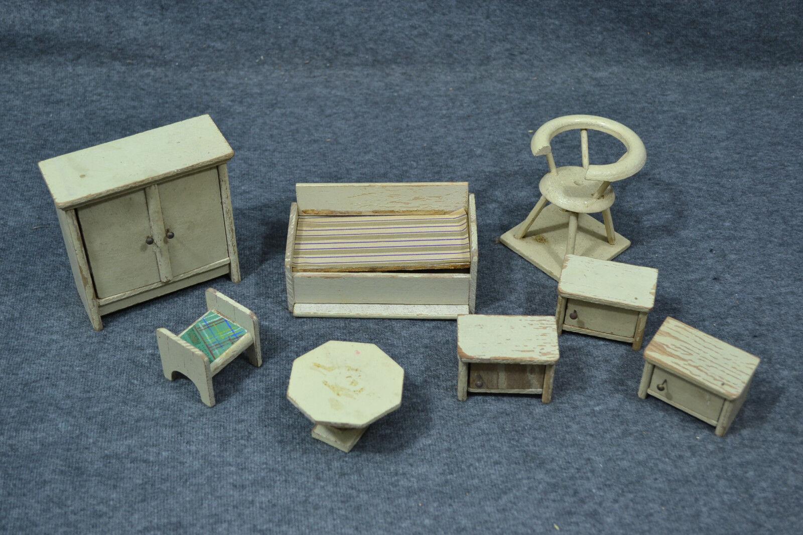 Bambole mobili, legno, fatto a uomoo, ARMADIO, letto, 3 caselle, caselle, caselle, materiali, circa 1920 3f5845