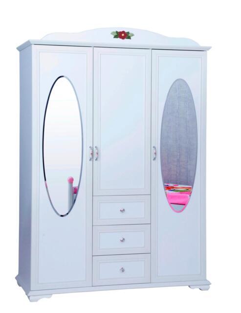 Kleiderschrank Cindy 3-türig weiß Landhaus Kinderzimmer