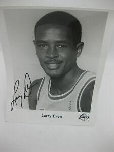 Larry Drew autographed picture 8.5 x 11 b&w photo Los Angeles Lakers mint