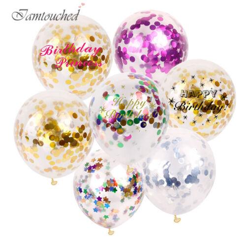 "5PCS 12/"" Colorful Confetti Balloon Birthday Wedding Party Decor Helium Balloons"