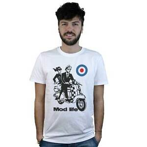 T-shirt-Mod-life-T-shirt-white-with-drawing-vespa-vintage-e-target-Mods-UK