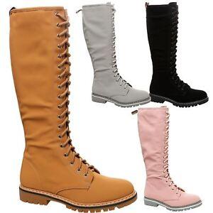 Lace Boots Womens Mid Low Harlow Ladies Calf Flats Heels Up n80wOyvmNP