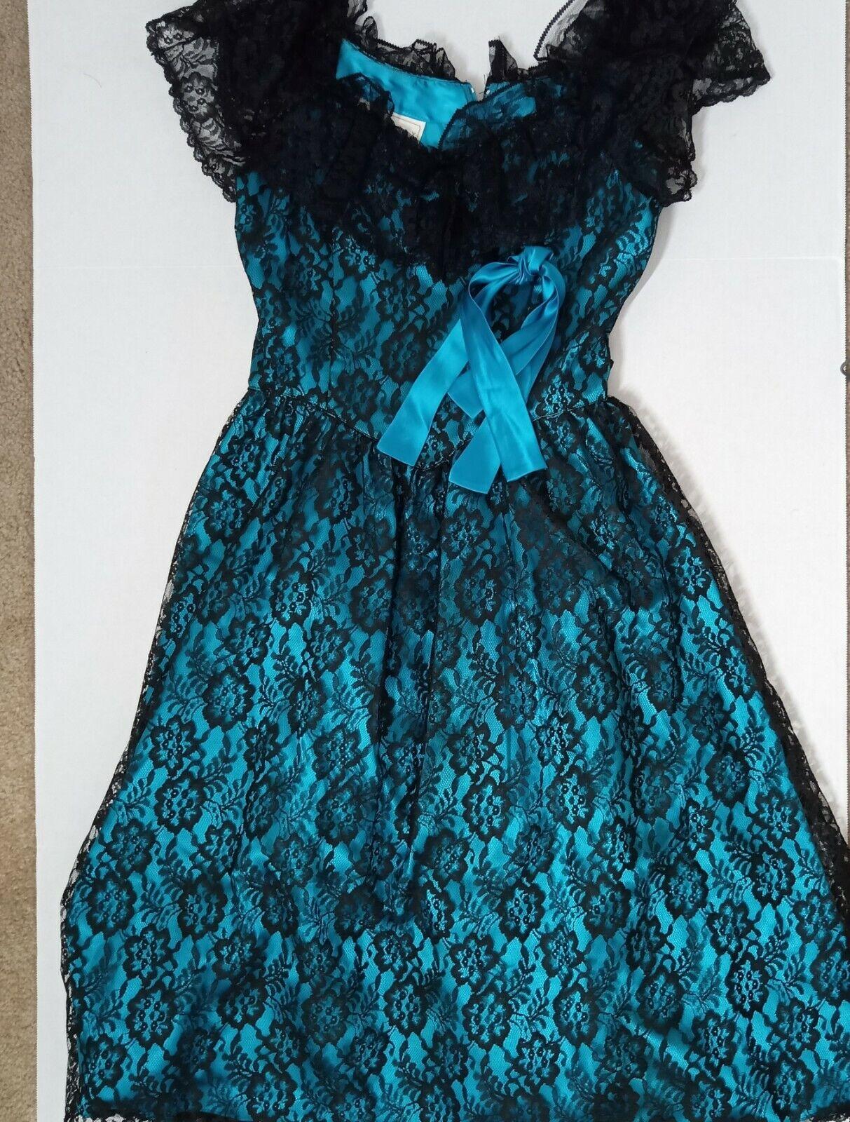 Vintage Jessica McClintok Gunne Sax Blue Lace Tri… - image 1