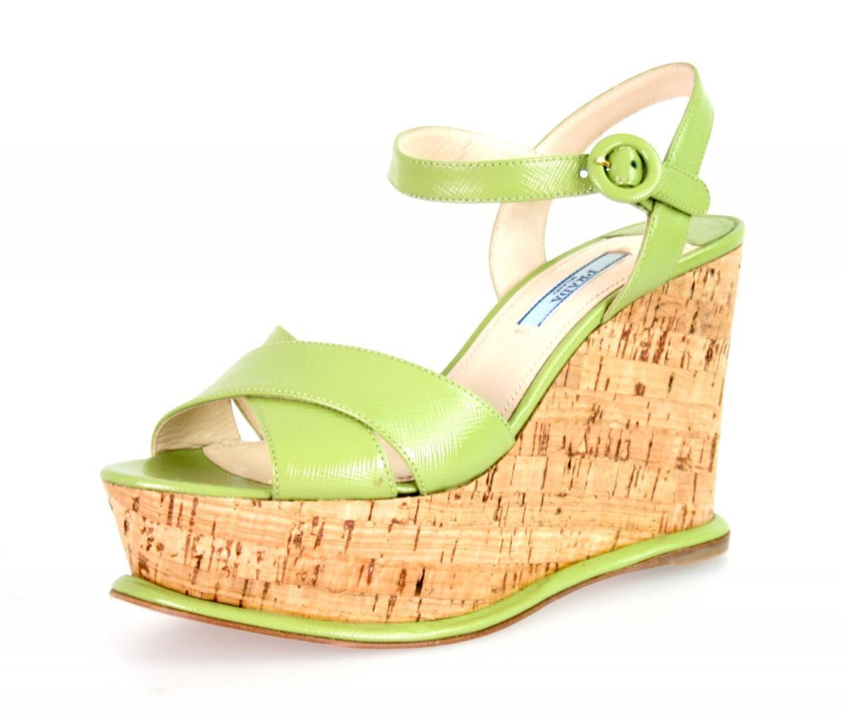 AUTHENTIC LUXURY PRADA SANDALS 1XZ265 vert vert vert NEW US 7.5 EU 37,5 38 57906e