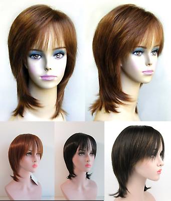 Short Mid Length Straight Hair Face Framing Layered Shag Bob Womens Wig Ellen Ebay