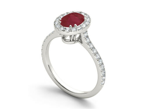 Details about  /925 Sterling Silver Ring Natural Ruby Solitaire Gemstone Halo Size 4-11