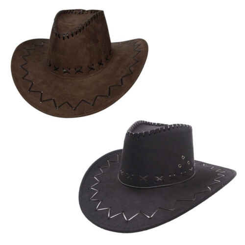 CAPPELLO Cowboy Ecopelle Scamosciata Wild West Costume Adulti Uomo Donna Cowgirl Hen Stag