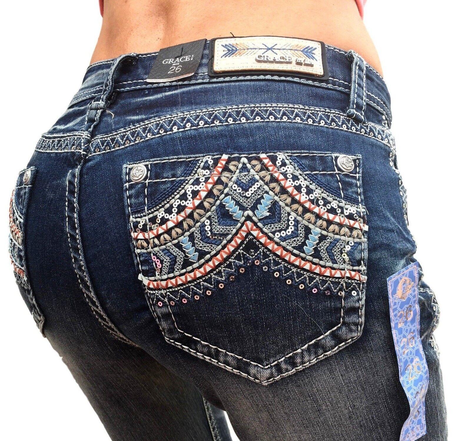 Grace In LA Jeans Mid Rise Southwest Easy Bootcut 26 27 28 29 30 31 32 33 34