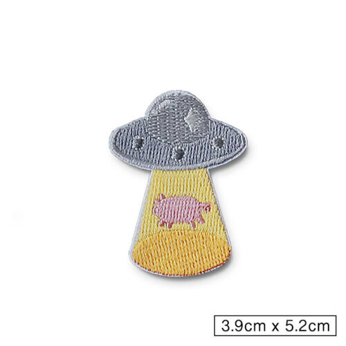 Alien Rainbow UFO Clown Embroidery Sew Iron On Patch Badge Fabric Applique Craft