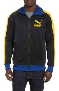 f12e3a63 Details about Puma Men's Black Spetra/Yellow Sodalite Blue T7 Vintage Full  Zip Track Jacket