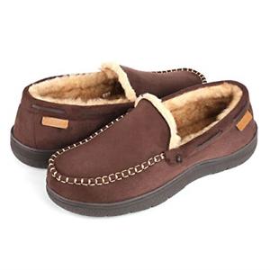 Wishcotton Zigzagger Men/'s Microsuede Moccasin Slippers Memory Foam House Shoes