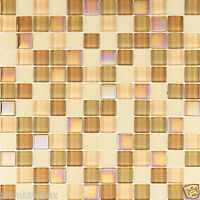 Light Caramel Cubed Iridescent Polished & Frosted Glass Kitchen Bath Mosaic-1
