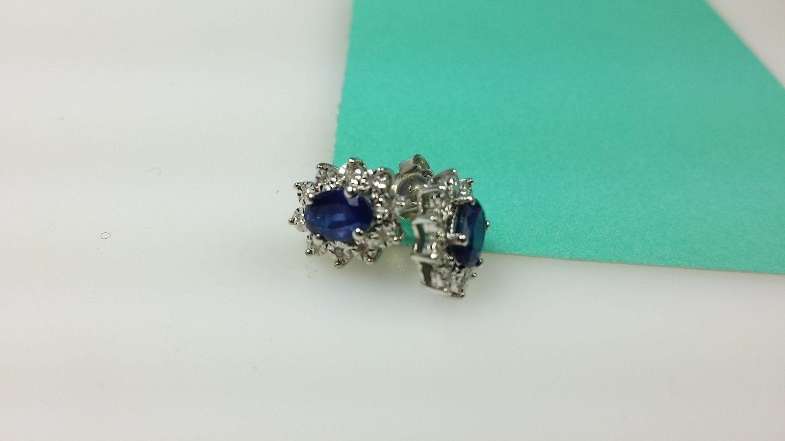 'ZMR' 14k White gold Flower Diamond Sapphire Oval Round Earrings