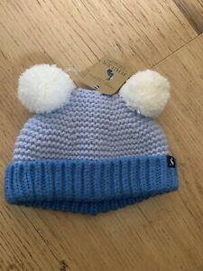 JOULES-BABY-BOY-BLUE-KNITTED-DOUBLE-POM-POM-HAT-0-6-M-BNWT