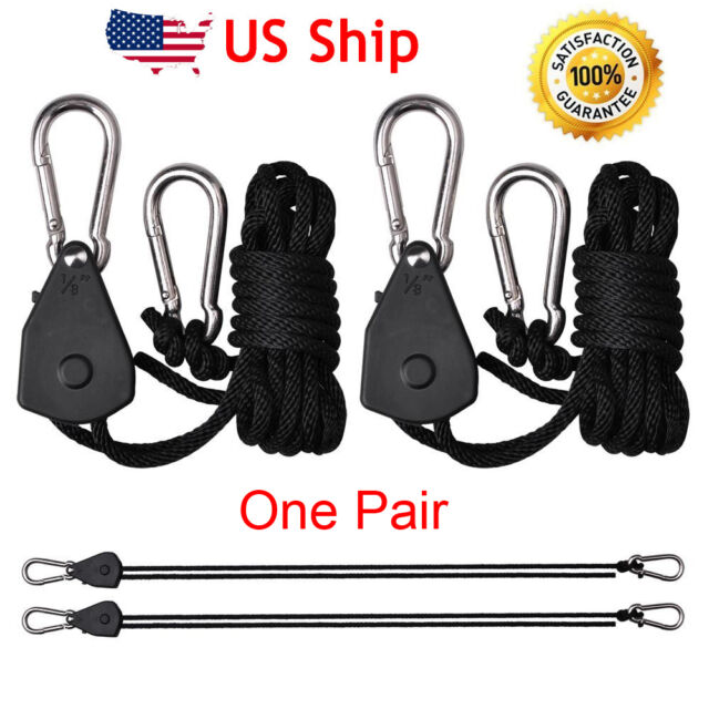 Pair of Hydroponic Rope Ratchets Lights Fan Carbon Filter Grow Tent Hanger Yoyos