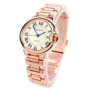 New-Rose-Gold-Small-Case-Classic-Analog-Roman-Dial-Geneva-Women-039-s-Watch