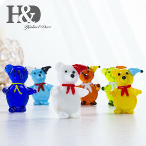 H-amp-D-Hand-Blown-Art-Glass-Tiny-Bears-Crystal-Figurines-Animals-Collection-6pcs