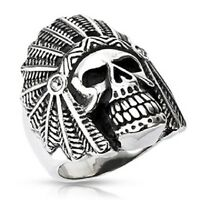 Harley Biker Men's 316l Stainless Steel Apache Skull Ring Jewelry R104