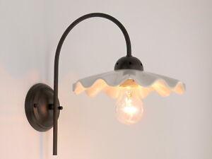 Applique lampada parete classico rustico country ceramica bianco