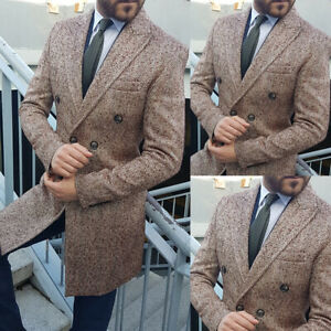 Brown-Tweed-Mens-Double-breasted-Long-Overcoat-Winter-Casual-Business-Coat-New