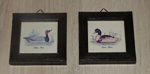 2 cadres miniature représentant des canards dim 6x6 cm verre