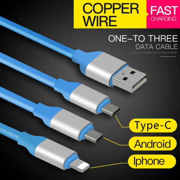 3-in-1-Multi USB-Type-C-Micro-Lightning-Charging-Cable Mulit USB Date Cable