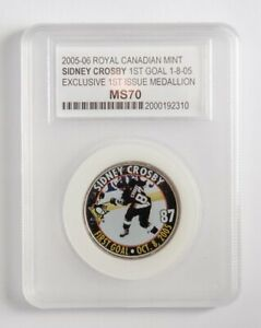 SIDNEY-CROSBY-Royal-Canadian-Mint-COIN-Medallion-FIRST-GOAL-GRADED-PENGUINS-WOW