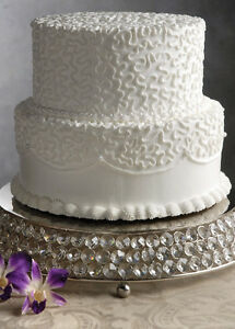 Image Is Loading Crystal Wedding Cake Stand Display Silver Glass Cake