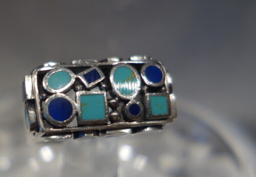 BLUE LAPIS AND TURQUOISE CLUSTER STERLING SILVER RINGS 6.25
