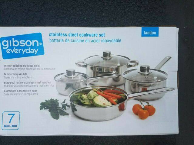 New In Box Gibson Everyday Stainless Steel Pan Cookware Set 7 Piece