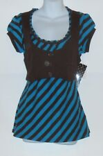 Almost Famous Junior Short Sleeve Top with Attached Vest Med Blue Combo L NWT