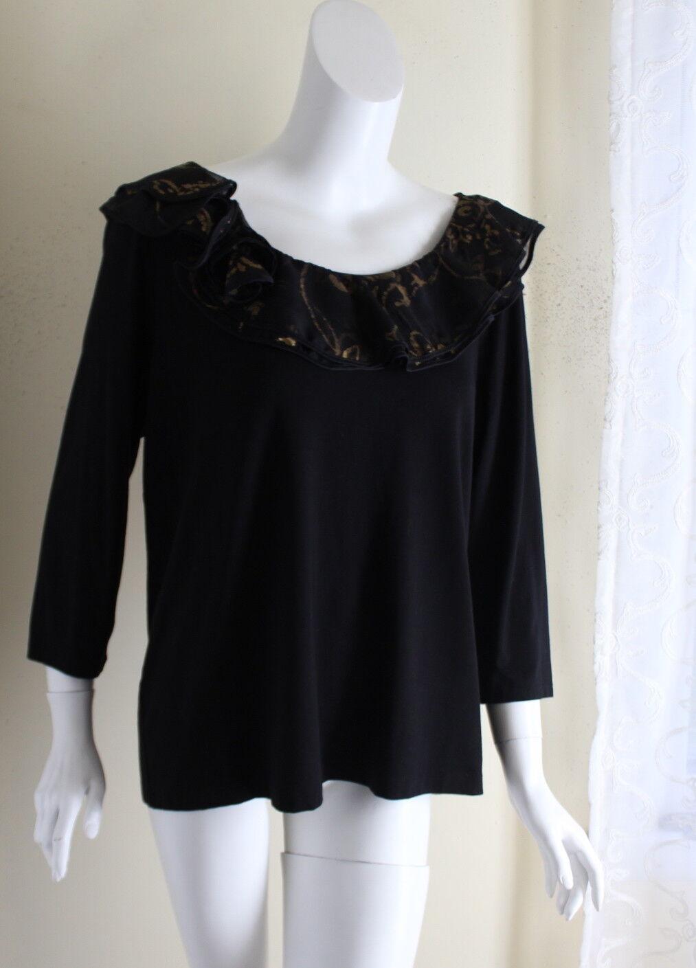 NWT Ralph Lauren -Sz 1X Gorgeous schwarz Ruffled Jersey Knit 3 4 Knit Top Shirt