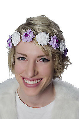 TrYptiX Purple White Flower Crown Headband Wedding EDC Shambhala Electric Zoo