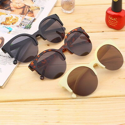 Retro Black Lens Vintage Men Women Round Frame Sunglasses Glasses Eyewear OW#